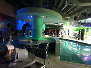 The dance stage that overlooks the Clevelander pool.