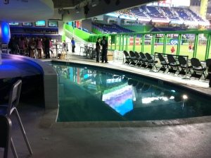 The pool located beyond the left field fence in the Clevelander nightclub.