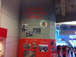 The stadium is built on the site of the old Orange Bowl and they have a spot on the concourse where they commemorate that.