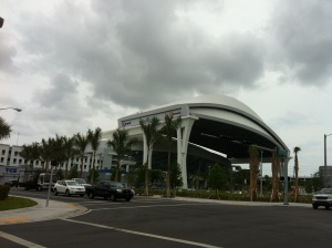 A look from behind home plate outside the new Marlins Park.
