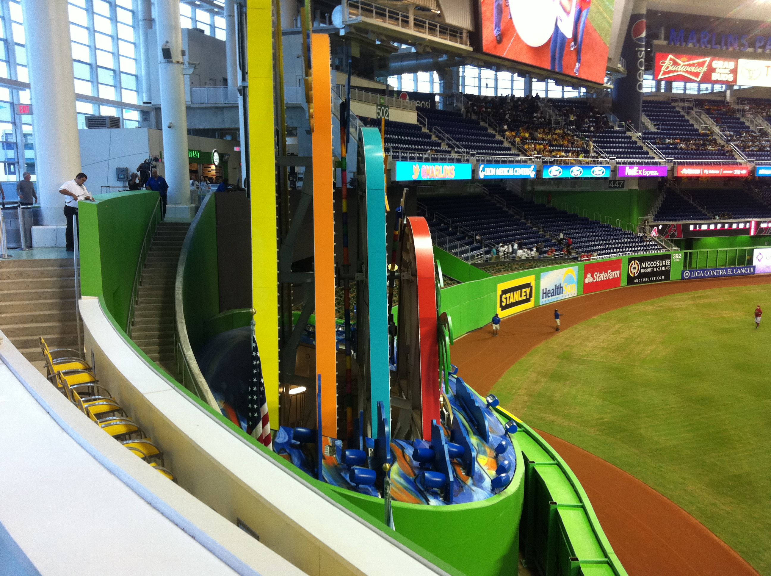 A side view of the home run sculpture.