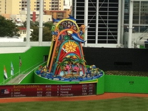 The infamous home run sculpture in left-center.